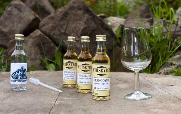 Flaschen, Pipette und Glas der Whiskybox - Whisky Tasting zu Hause - stehen vor Steinen und Gras.