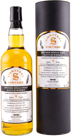 Whisky: Strathmill 9 Jahre 2009/2019 Signatory Cask Strength